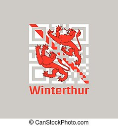 QR code set the color of Winterthur flag, The canton of Switzerland