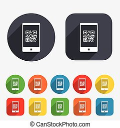 Qr code sign icon. Scan code in smartphone symbol. Coded word - success! Circles and rounded squares 12 buttons. Vector