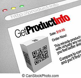 qr, code, -, toile, écran, site web, de, produit, information