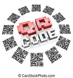 qr, codes, dans, anneau, balayage, pour, produit, information