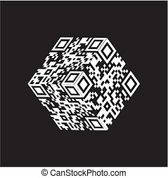 qr, codice, cubo, moderno