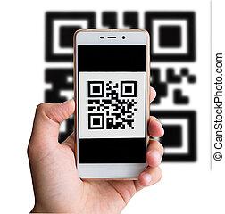 qr, kód, fizetés, lebonyolítás, használ, mozgatható, smartphone