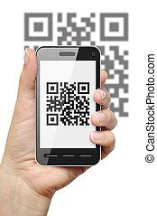 qr, kód, képben látható, mobile telefon