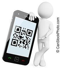 qr, móvel, -, códigos, 3d, homem