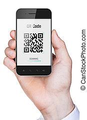 qr, mobile, schermo, mano, telefono, codice, presa a terra, uomo affari