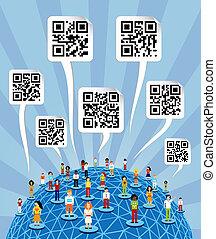 qr, undertecknar, media, global, koder, social, värld