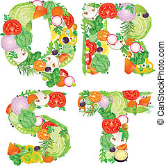 qrst, alfabeto, verdura