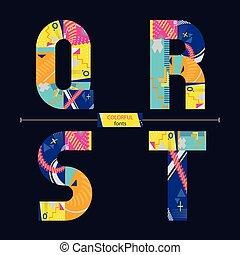 qrst, stil, sätta, färgrik, alfabet, geometrisk