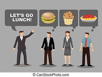 qué, almuerzo, ilustración, vector, caricatura, comer