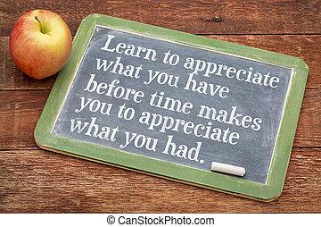 qué, apreciar, usted, tener, aprender