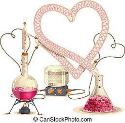 química, amor, illustratio, -, vector
