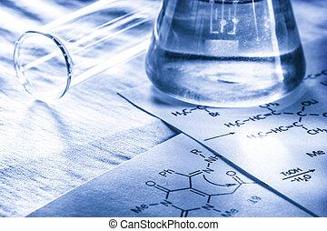 química, con, reacción, fórmula, en, viraje