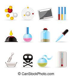 química, indústria, ícones