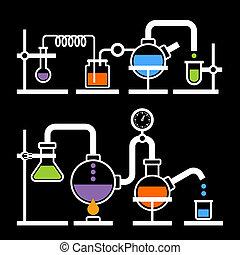 química, laboratório, infographic
