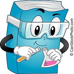 química, livro, experiência, mascote