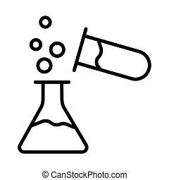 química, prueba, tenencia, frasco, químicos, erlenmeyer, ...