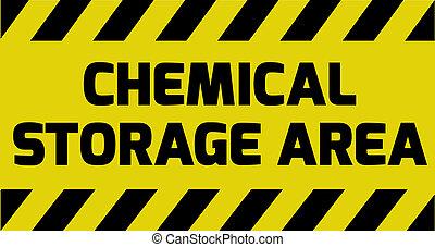 químico, área, almacenamiento, señal