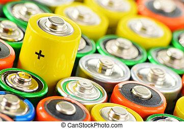 químico, alcalino, desperdício, batteries., composição