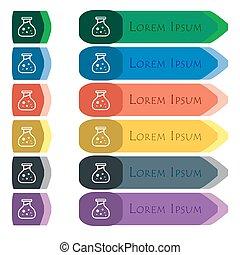 químico, Conjunto, adicional,  modules, señal, largo, colorido, botones, brillante, plano, pequeño, diseño, icono