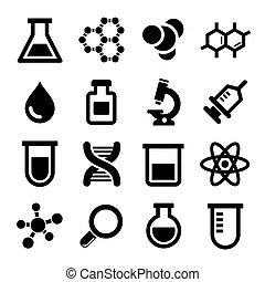 químico, conjunto, iconos