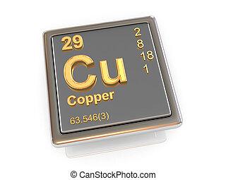 químico, copper., element.