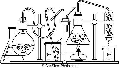 químico, cristalería, icono