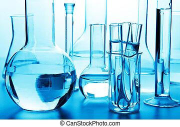 químico, cristalería laboratorio