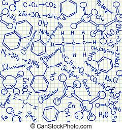 químico, doodles, seamless, padrão