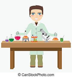 químico, em, a, laboratory.