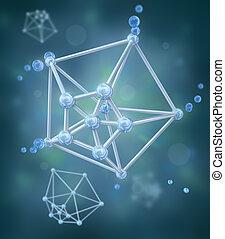 químico, encima, molécula, plano de fondo