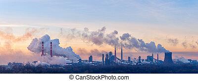 químico, fábrica, manhã