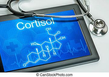 químico, fórmula, cortisol, tableta