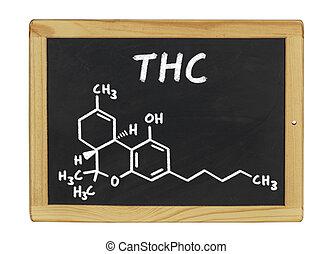 químico, fórmula, de, thc, en, un, pizarra