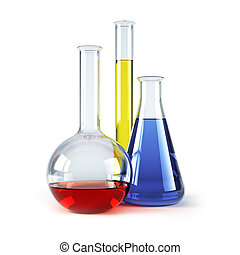 químico, frascos, con, reagents