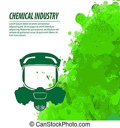 químico, gas, industria, máscara