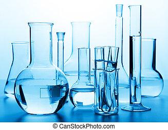 químico, glassware laboratório