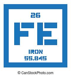 químico, hierro, elemento