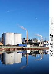 químico, indústria, planta
