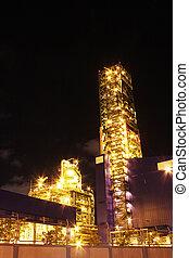 químico, industrial, cena, noturna