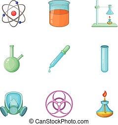 químico, laboratório, jogo, equipamento, ícones