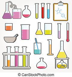 químico, objetos, vector