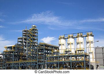 químico, planta industrial, contra, el, cielo azul