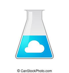 químico, probeta, nube