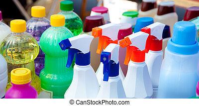 químico, productos, para, limpieza, tareas