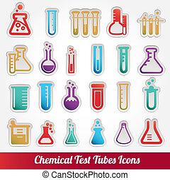 químico, prueba, vector, tubos, iconos