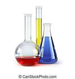 químico, reagents, frascos