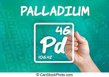 químico, símbolo, palladium, elemento
