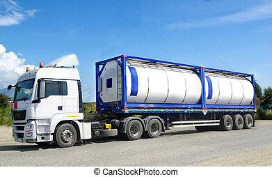 químico, transporte, contenedor