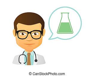 químico, tubo teste, doutor masculino