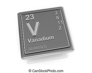 químico, vanadium., element.
